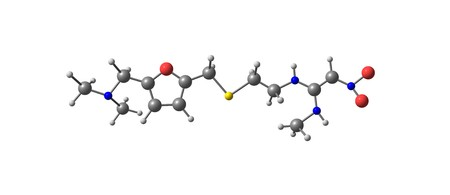 Ranitidine is a medication that decreases stomach acid production. It is commonly used in treatment of peptic ulcer disease, gastroesophageal reflux disease. 3d illustration Banco de Imagens
