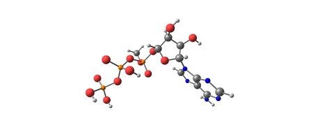 Adenosine triphosphate or ATP is a complex organic chemical that participates in many processes. 3d illustration Stock Photo