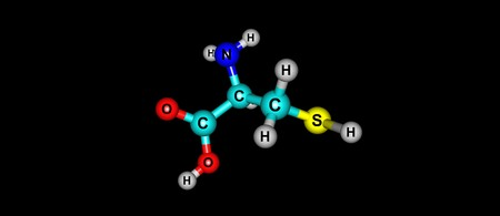 Cysteine or Cys is a semi-essential proteinogenic amino acid with the formula HO2CCHNH2CH2SH. 3d illustration Imagens - 92318280
