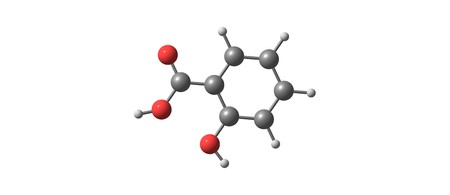 Salicylic acid is a lipophilic monohydroxybenzoic acid, a type of phenolic acid. It has the formula C7H6O3. This colorless crystalline acid is widely used in organic synthesis. 3d illustration Stock Photo