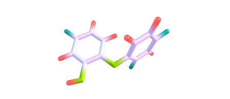 Triclosan or TCS similar in its uses and mechanism of action to triclocarban is an antibacterial and antifungal agent. 3d illustration