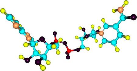 Nicotinamide adenine dinucleotide of NAD is een co-enzym dat voorkomt in alle levende cellen. Het is een dinucleotide, omdat het bestaat uit twee nucleotiden verbonden door hun fosfaatgroepen. 3D illustratie Stockfoto