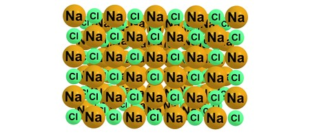 Sodium chloride is an ionic compound with the chemical formula NaCl, representing a 1 to 1 ratio of sodium and chloride ions. 3d illustration Stock Photo