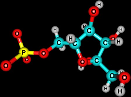 Fructose molecular structure on black background Stock Photo