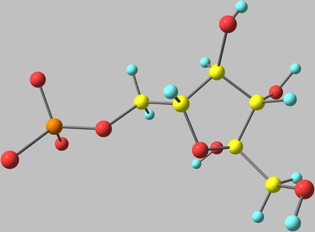 Fructose molecular structure on grey background