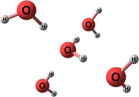 Water H2O is a polar inorganic compound that is at room temperature a tasteless and odorless liquid. 3d illustration Foto de archivo - 95734583