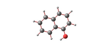 1-Naphthol or a-naphthol is a fluorescent organic compound with the formula C10H7OH. It is a white solid. 3d illustration