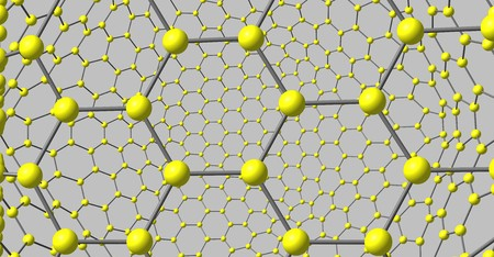 Two-layer graphene-like molecular structure isolated on grey background. 3d illustration