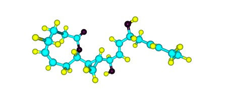 Neohalicholactone is unusual fatty acid metabolites having a cyclopropane ring and a nine-membered lactone. 3d illustration