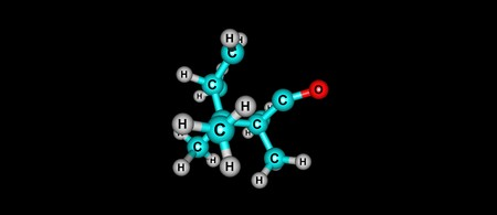 Camphor molecular structure isolated on black background