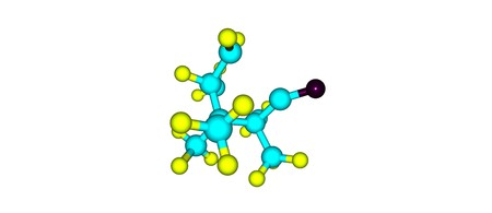 Camphor is a waxy, flammable, white or transparent solid with a strong aroma. 3d illustration