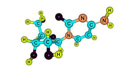 Cytidine is a nucleoside molecule that is formed when cytosine is attached to a ribose ring. It is a component of RNA. 3d illustration