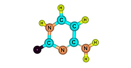 Cytosine is one of the four main bases found in DNA and RNA. It is a pyrimidine derivative, with a heterocyclic aromatic ring and two substituents attached. 3d illustration