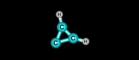 Cyclopropenylidene or c-C3H2 is an aromatic molecule belonging to a highly reactive class of organic molecules, carbenes. 3d illustration