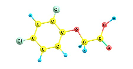 2,4-Dichlorophenoxyacetic acid or usually called 2,4-D is an organic compound with the chemical formula C8H6Cl2O3. 3d illustration Stock Photo