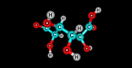 Galacturonic acid prepared from pectin can be used to synthesize vitamin C. 3d illustration