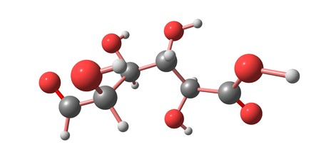 Glucuronic acid is a uronic acid that was first isolated from urine. It is found in many gums such as gum arabic. 3d illustration