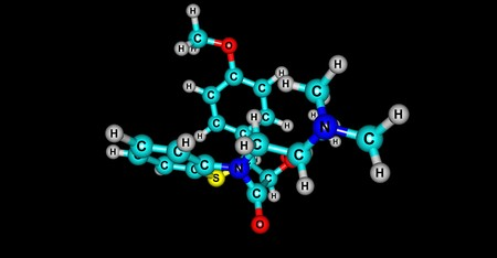 Diltiazem is a nondihydropyridine calcium channel blocker used in the treatment of hypertension, angina pectoris, and some types of arrhythmia. 3d illustration