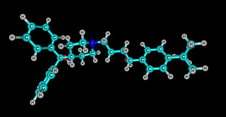 Terfenadine molecular structure isolated on black Stock Photo - 101937299