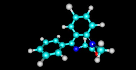 Diazepam is a medicine of the benzodiazepine family that typically produces a calming effect. 3d illustration Фото со стока