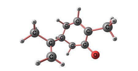 Carvone is a member of a family of chemicals called terpenoids. Carvone is found naturally in many essential oils. 3d illustration