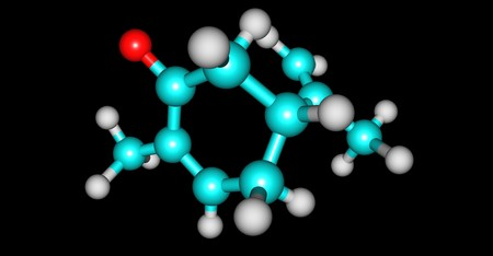 R-Carvone molecular structure isolated on black Stock Photo