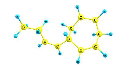 Ectocarpene molecular structure isolated on white