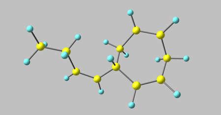 Ectocarpene molecular structure isolated on grey Stock Photo