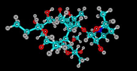 Erythromycin molecular structure isolated on black