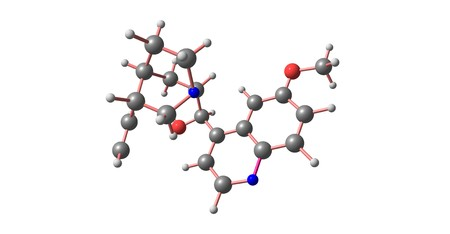 Quinine is a medication used to treat malaria and babesiosis. Quinine can be taken by mouth or used intravenously. 3d illustration