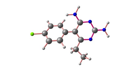 Pyrimethamine is a medication used with leucovorin to treat toxoplasmosis and cystoisosporiasis. 3d illustration