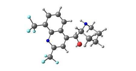 La mefloquina es un medicamento que se usa para prevenir o tratar la malaria. Cuando se usa para la prevención, se toma una vez a la semana y debe iniciarse una o dos semanas antes de una posible exposición. Ilustración 3d