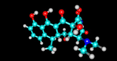 Doxycycline is an antibiotic used in the treatment of a number of types of infections: bacterial pneumonia, acne, chlamydia infections, early Lyme disease, cholera and syphilis. 3d illustration Standard-Bild - 105165879