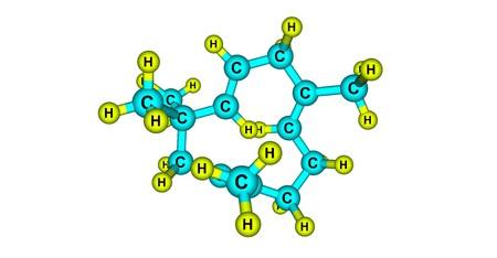 Humulene molecular structure isolated on white