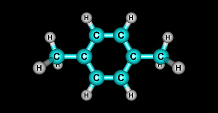 p-Xylene or para-xylene is an aromatic hydrocarbon. It is one of the three isomers of dimethylbenzene known collectively as xylenes. 3d illustration