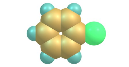 Chlorobenzene is an aromatic organic compound with the chemical formula C6H5Cl. This colorless, flammable liquid is a common solvent. 3d illustration