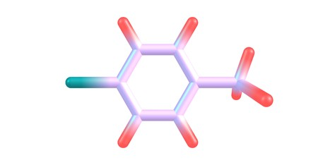 Para-chlorotoluene consist of a disubstituted benzene ring with one chlorine atom and one methyl group. 3d illustration Stock Photo
