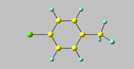 Para-chlorotoluene consist of a disubstituted benzene ring with one chlorine atom and one methyl group. 3d illustration 写真素材