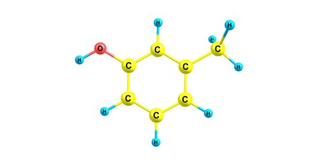 meta-Cresol or 3-methylphenol is an organic compound with the formula CH3C6H4OH. It is a colourless, viscous liquid. 3d illustration 写真素材