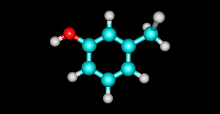 meta-Cresol or 3-methylphenol is an organic compound with the formula CH3C6H4OH. It is a colourless, viscous liquid. 3d illustration Stock Photo