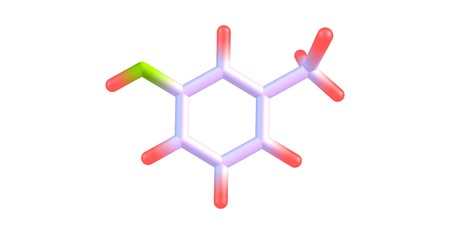 meta-Cresol or 3-methylphenol is an organic compound with the formula CH3C6H4OH. It is a colourless, viscous liquid. 3d illustration Banco de Imagens