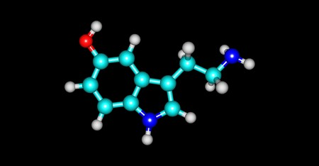 Serotonin or 5-hydroxytryptamine is a monoamine neurotransmitter, and is popularly thought to be a contributor to feelings of well-being and happiness. 3d illustration Stok Fotoğraf