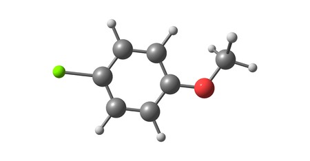 4-chloroanisole molecular structure isolated on white. 3d illustration