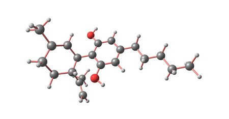 Cannabidiol or CBD is a naturally occurring cannabinoid constituent of cannabis. It was discovered in 1940. 3d illustration 스톡 콘텐츠