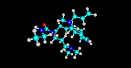 Cabergoline, an ergot derivative, is a potent dopamine receptor agonist on D2 receptors. 3d illustration Stock Photo