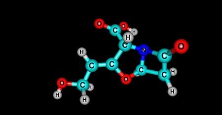 Clavulanic acid molecular structure isolated on black