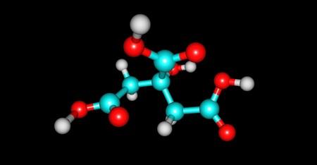 Citric acid molecular structure isolated on black 版權商用圖片
