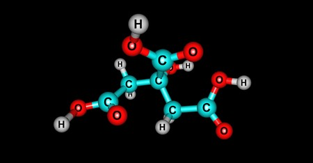 Citric acid molecular structure isolated on black 스톡 콘텐츠