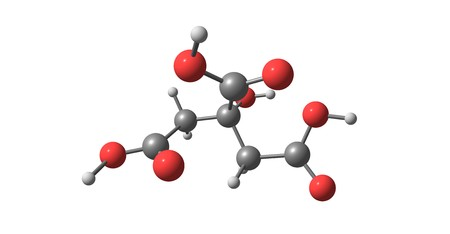 Citric acid molecular structure isolated on white 版權商用圖片
