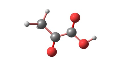 Pyruvic acid is the simplest of the alpha-keto acids, with a carboxylic acid and a ketone functional group. 3d illustration Stock Illustration - 110602225